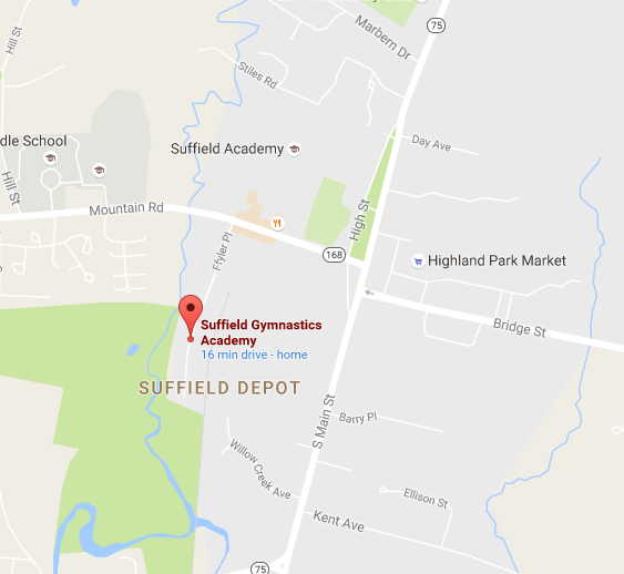 Suffield Gym - Map