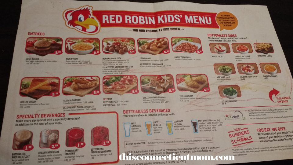 Red Robin Menu with Prices. Looking for the Red Robin Menu with Prices? Look no further, because you've found it. We have added the full Red Robin Menu with prices below, including the shakes & burgers menu, kids menu, lunch and dinner menu.