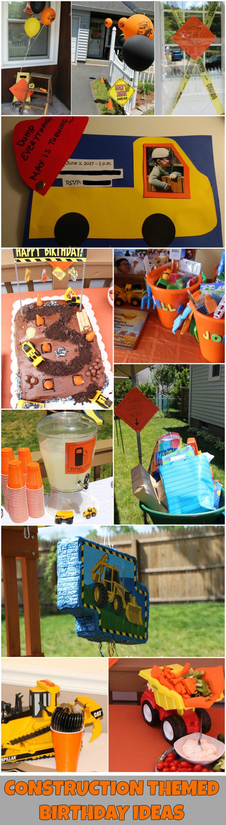 DUMP EVERYTHING! Plan a Construction Themed Birthday Party with This Connecticut Mom! Tips and Ideas for a construction themed party, including decoration ideas, favors, cake and more!